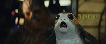 Star Wars: The Last Jedi..L to R: Chewbacca with a Porg..Photo: Lucasfilm Ltd. ..© 2017 Lucasfilm Ltd. All Rights Reserved.